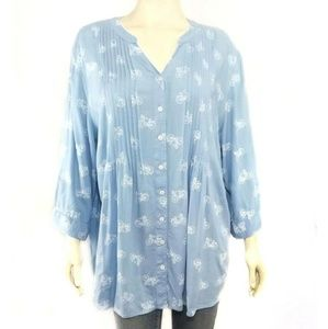 Coldwater Creek Bicycle Print Peasant Tunic Blouse